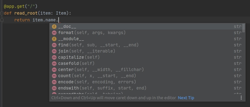 Autocompletion in FastAPI using PyCharm