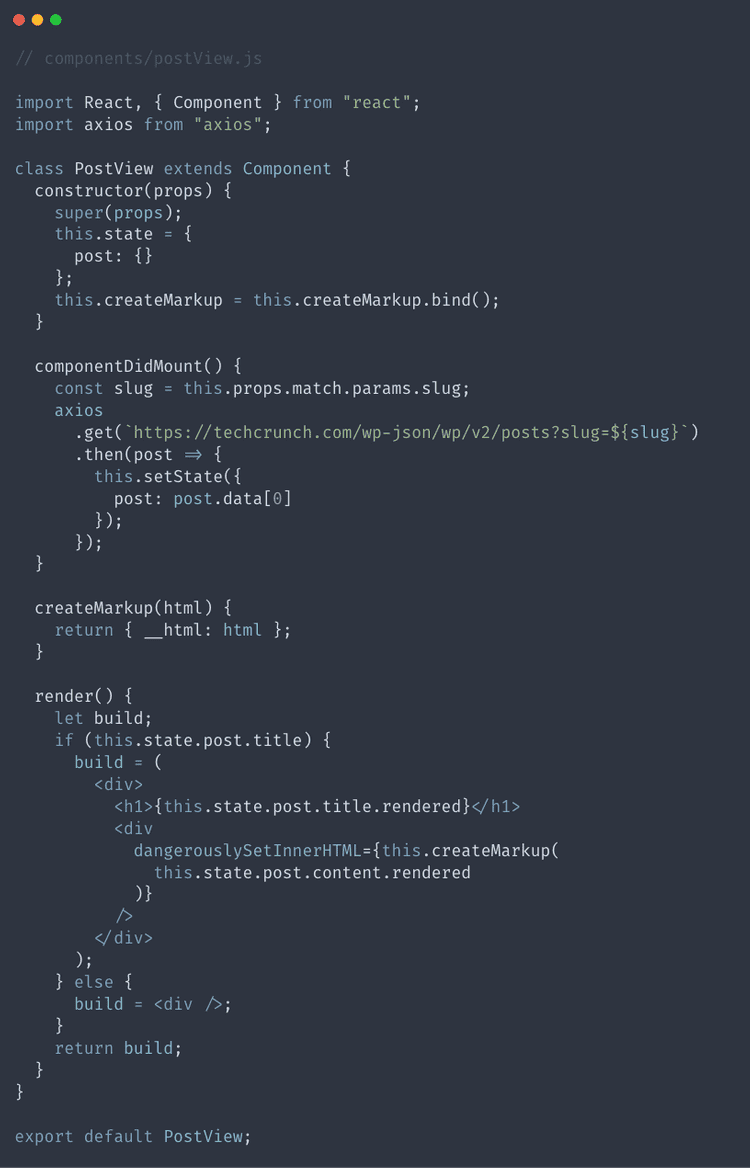The code for our completed PostView component