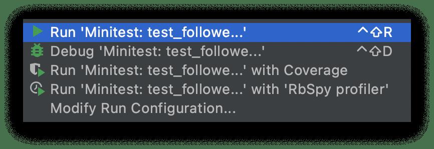Run test in RubyMine