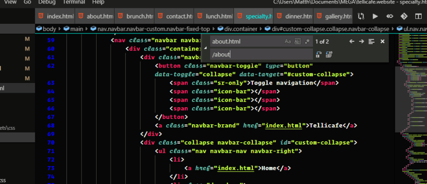 VS Code find and replace