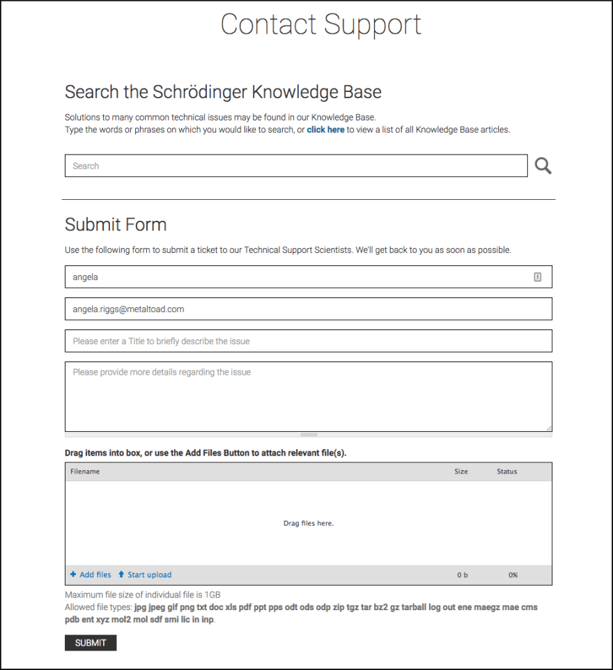 Client support form