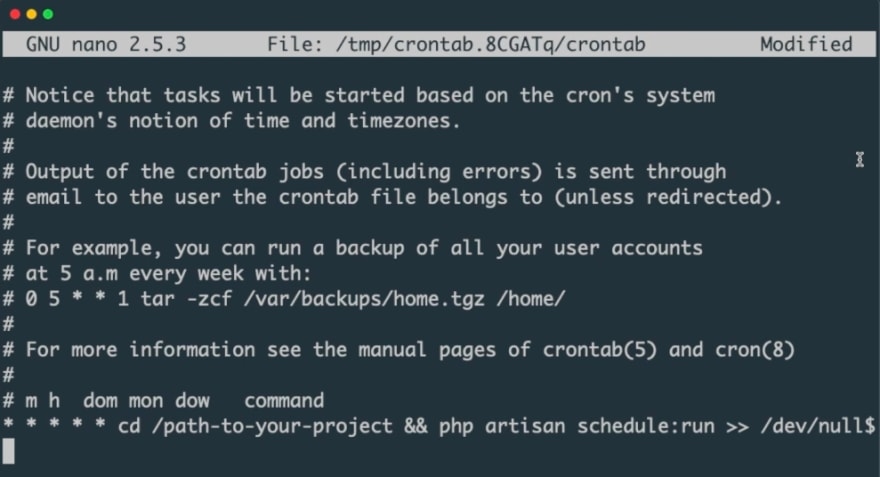 Crontab entry for running Laravel Scheduler