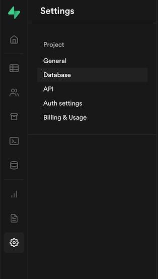 Sidebar menu of Supabase, showing the Settings menu open, with Database selected