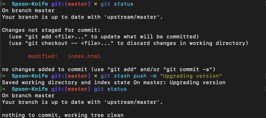 Screenshot of git stash push command