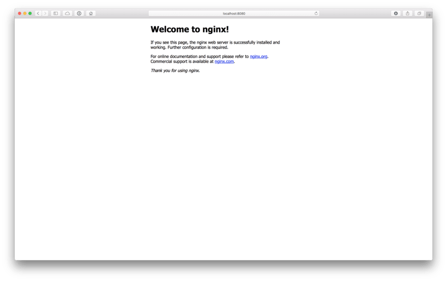 NGINX is now running on your local machine.
