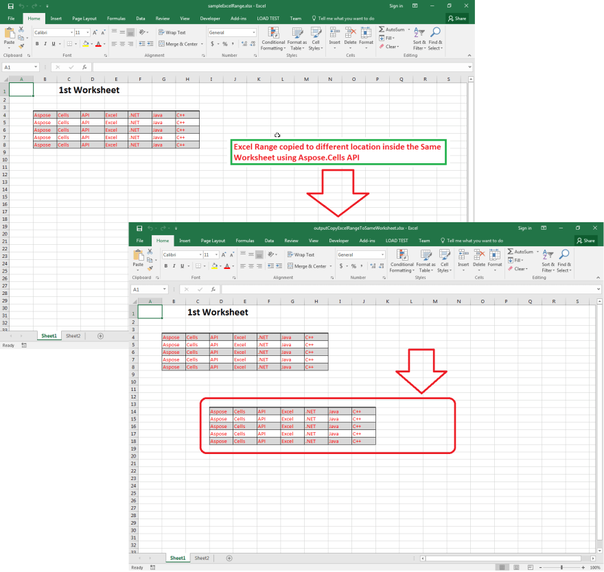 Excel Range copied to different location inside the Same Worksheet using Aspose.Cells API