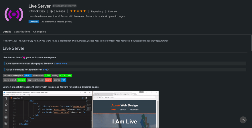 Live Server Screenshot