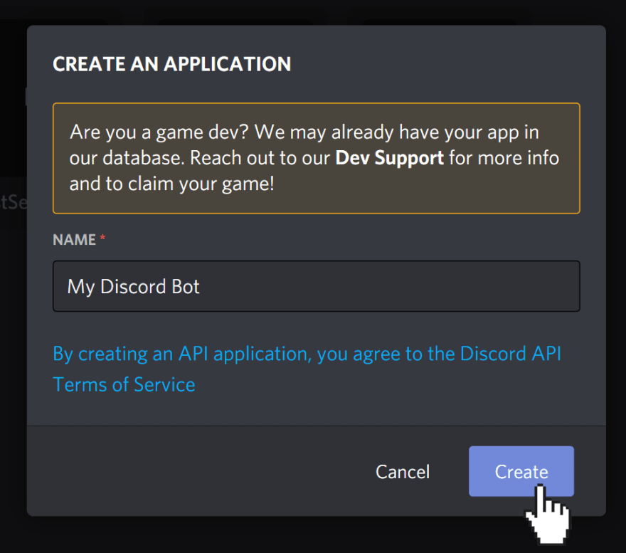 """Discord's create application modal asking for the name of the application. Cursor is clicking on """"Create"""" button."""