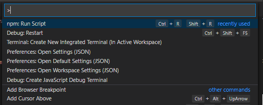 Show All Commands in VS Code