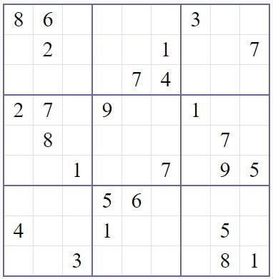 Unsolved Sudoku puzzle
