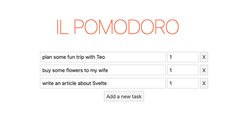 A big Title 'IL POMODORO' followed by a list of editable tasks within input boxes. There's a button to add new tasks.