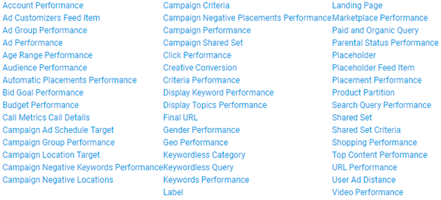 A list of the reports offered by Google Ads