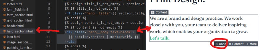 Screenshot of Stackbit's code panel