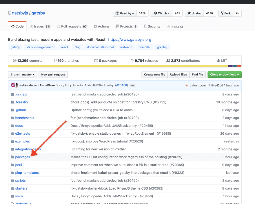 "Screenshot of Gatsby's GitHub repository with an arrow pointing to a ""packages"" directory"