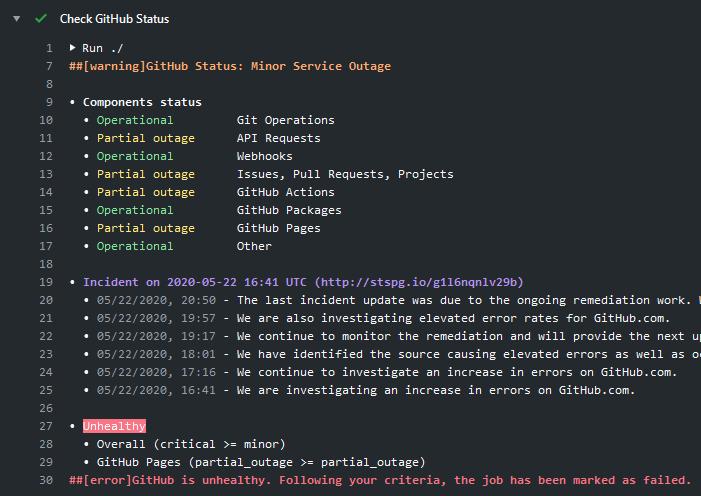 GitHub Status - Failed