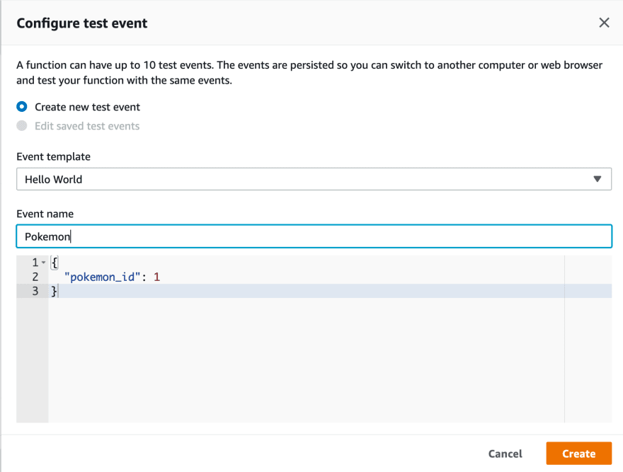Create the test message your lambda will receive