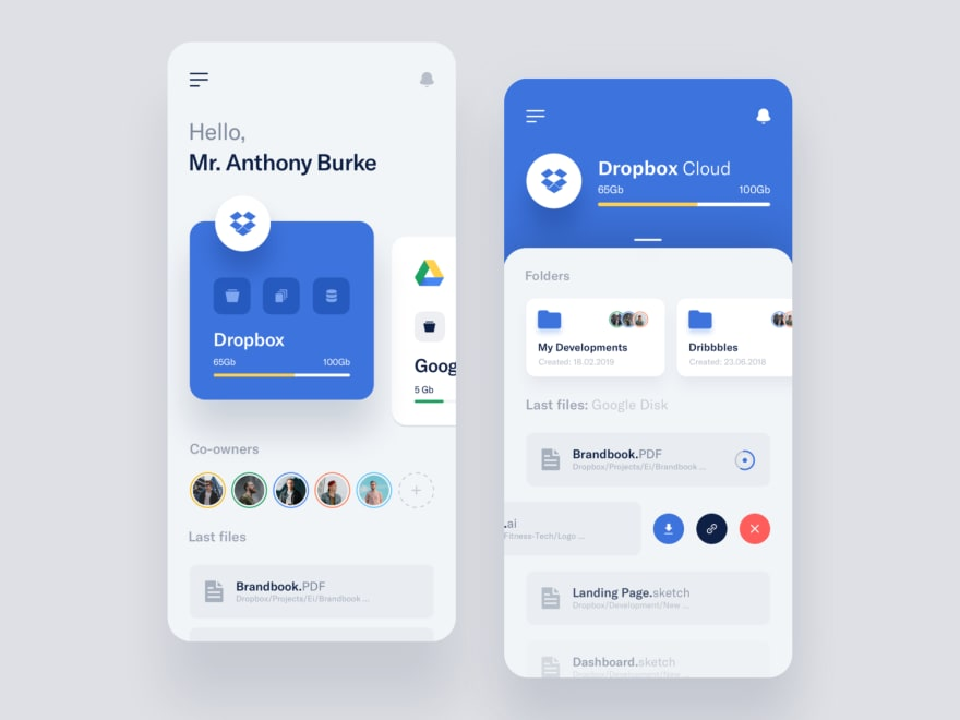 Two instances of horizontal scrolling ([https://dribbble.com/shots/6794395](https://dribbble.com/shots/6794395))