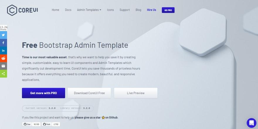 CoreUI Dashboard - Product Screen.