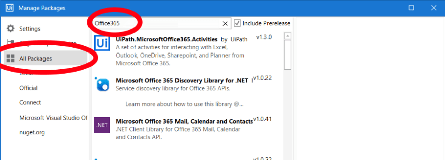 Office365 in Manage Packages