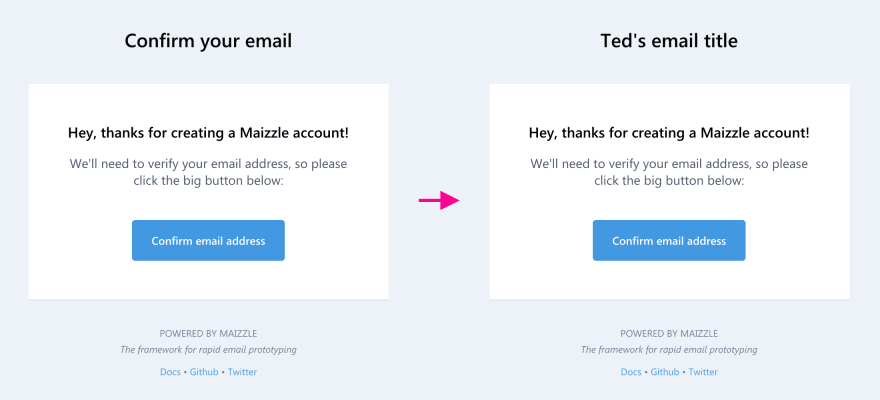 Two emails side by side, the second with an updated title.