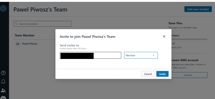 Adding a new user to the team is very easy