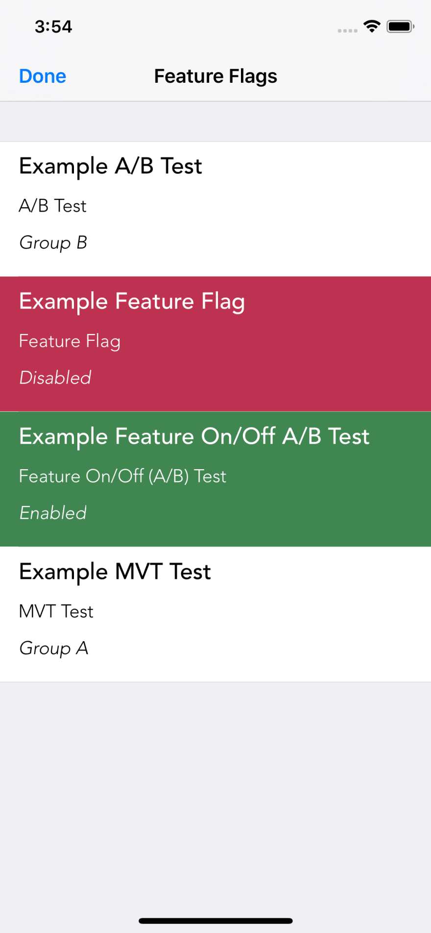 Feature Flags List
