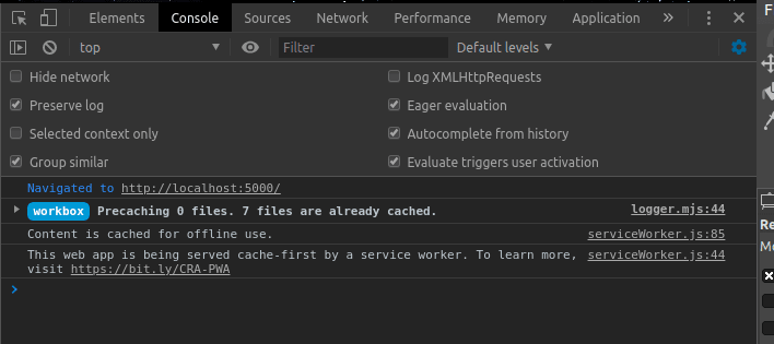 Application running with caching enable