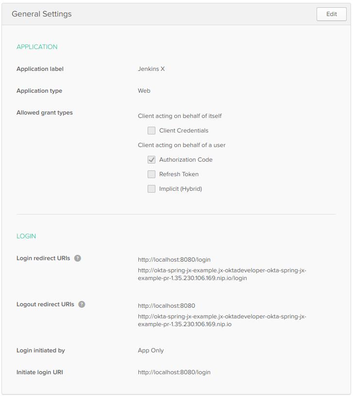 Okta app with URI settings
