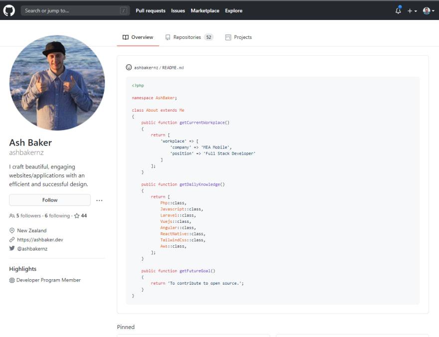 GitHub Profile Screenshot of Ash Baker
