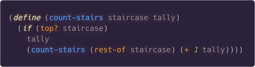 Tail-recursive version of count-stairs