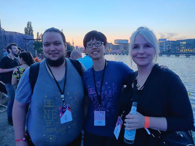 Team Nexmo (Alex, Garann and I) at sunset