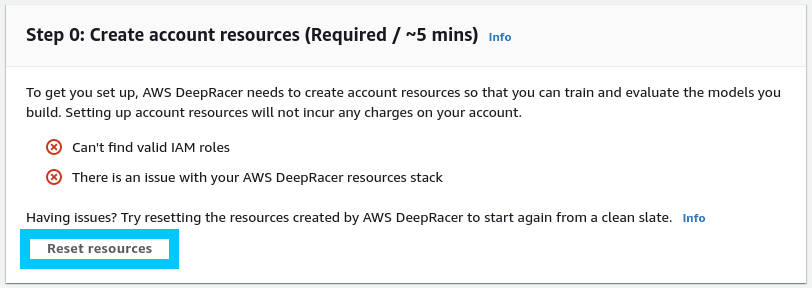 AWS DeepRacer Reset resources