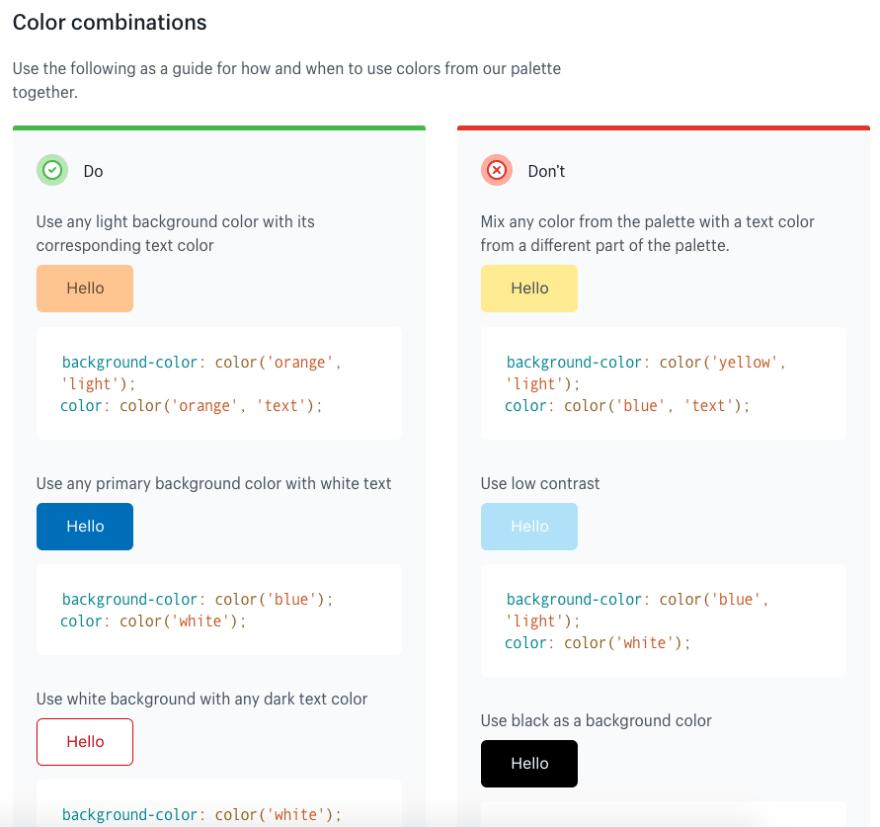 Example: [Polaris](https://polaris.shopify.com/design/colors#section-color-palette)' color guidelines
