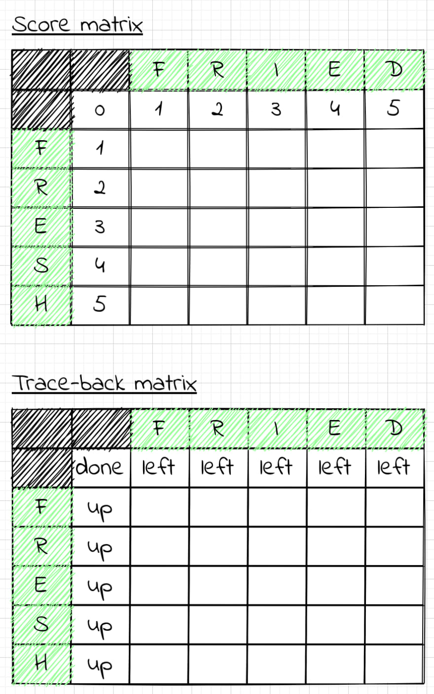 Prefilled score and trace-back matrices