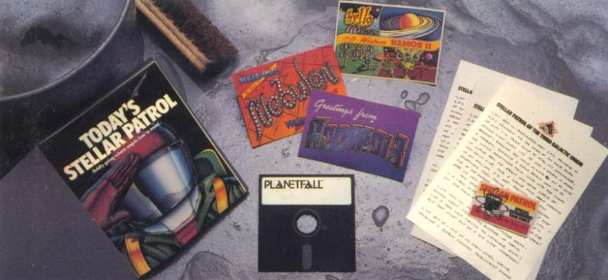 Box contents (feelies) of a text-based adventure games Planetfall.