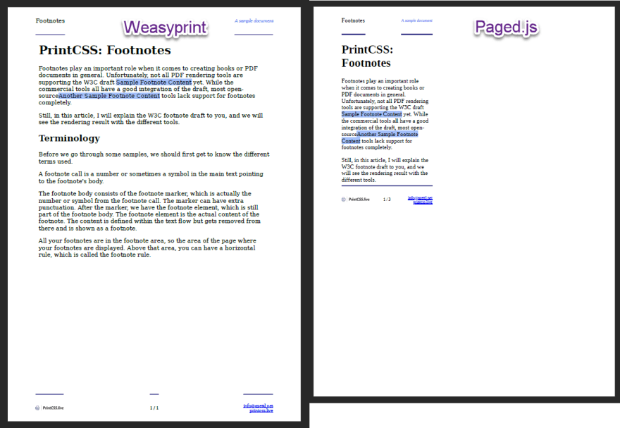 No footnote support with Weasyprint and Paged.js