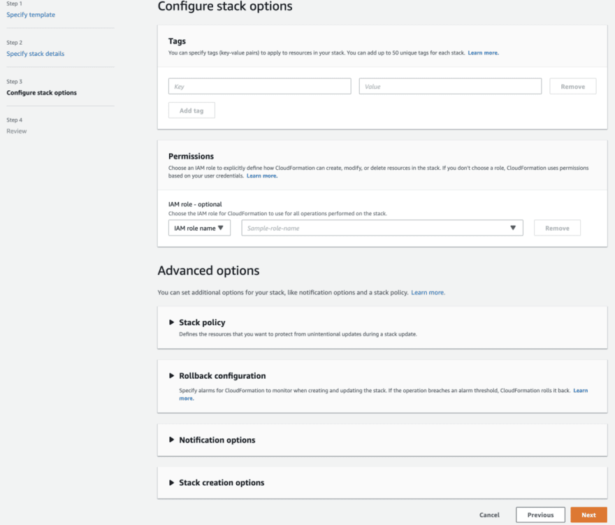 Step 3 configure stack options