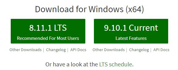 download nodejs - LTS version
