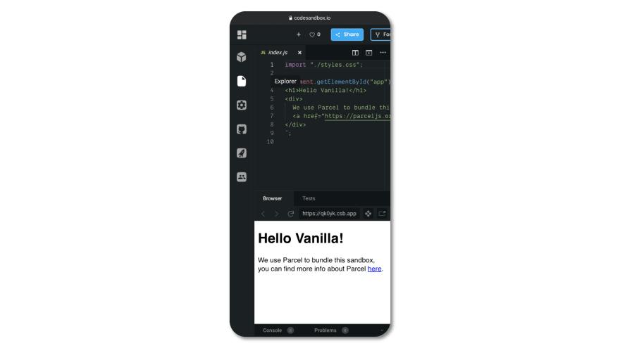 CodeSandbox on mobile Safari