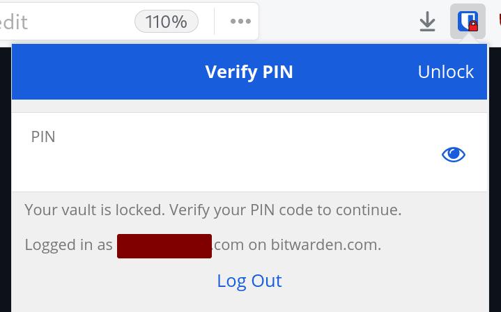 Unlocking Bitwarden browser extension