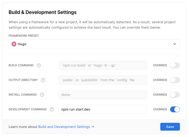 Configuring the build and development commands