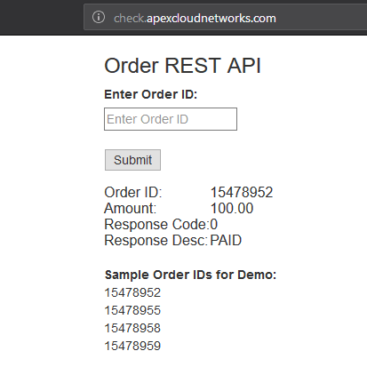 RESTful Order Interface