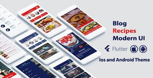 Flutter  Modern Blog and Recipes – Ios and Android Theme