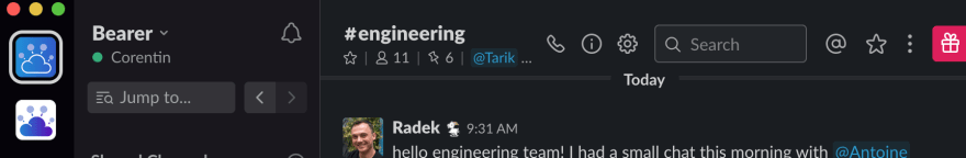 6 pinned messages in the #engineering channel