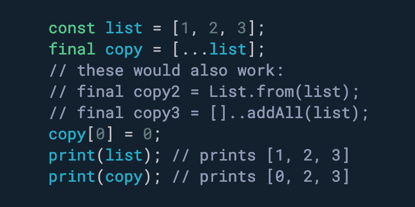 Need to shallow copy a list or collection? Use the spread operator.