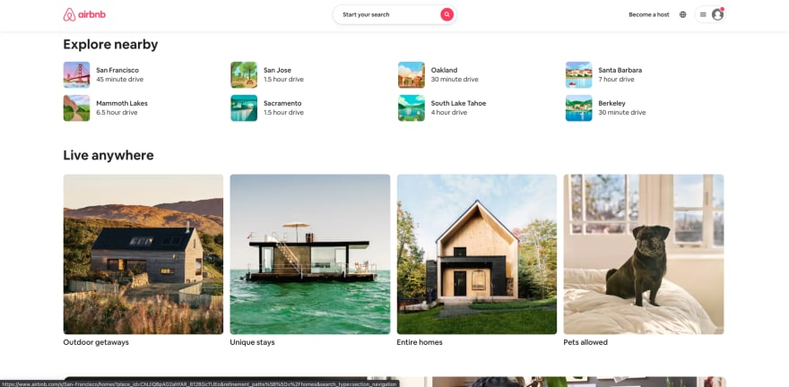 Airbnb website section