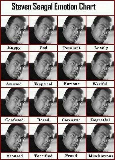 Steven Seagal always has the same facial expression