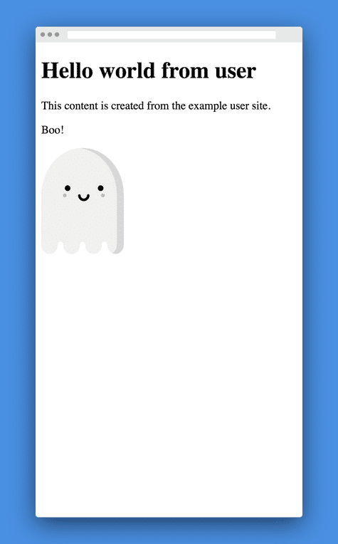 Same page as Hello World from User above, but with ghost illustration