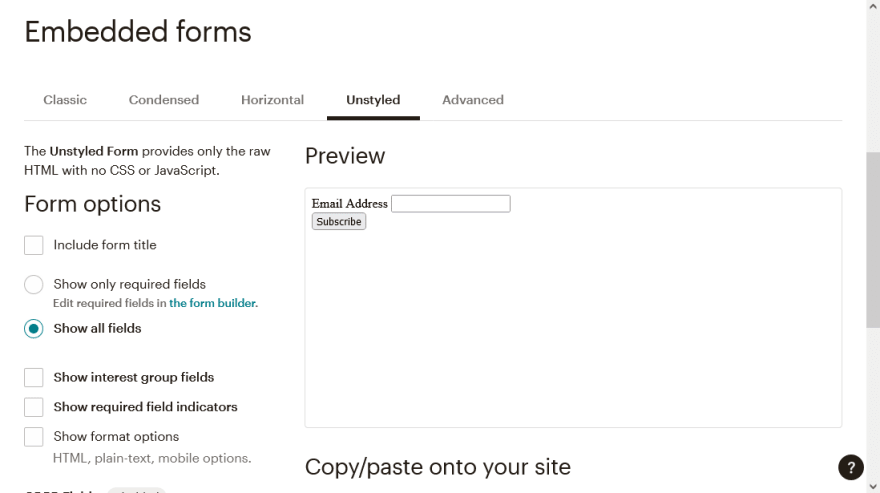 forms options