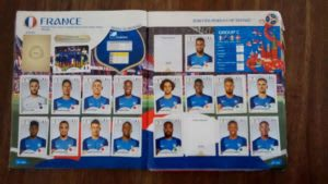 2018 sticker album showing France team missing three pictures.